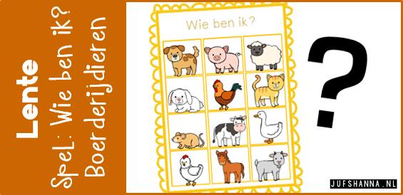 Beste Thema lente | Spel 'Wie ben ik?' - boerderijdieren - Juf Shanna MY-15